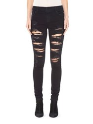 Alice Olivia Jane Embellished Distressed Skinny Jeans Distressed Wash Black