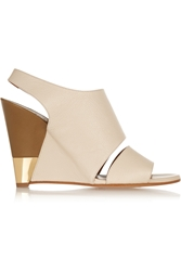 Chloa Textured Leather Wedge Sandals
