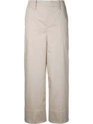 Christophe Lemaire Cropped Trousers Women Cotton Spandex Elastane 34 Nude Neutrals