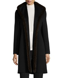 Fleurette Wool Open Front Coat W Mink Fur Black