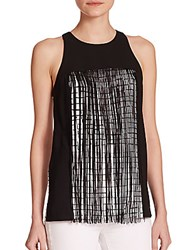 Sachin Babi Zenith Two Tone Fringed Check Tank Top Black White