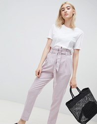 Asos Design Tailored Casual Tie Waist Linen Peg Trousers Grey Lilac
