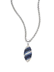 Effy Blue Sapphire And Sterling Silver Pendant Necklace Silver Blue