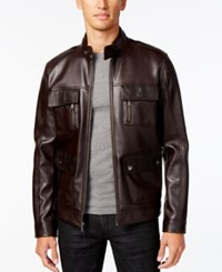 Inc International Concepts Men's Faux Leather Bomber Jacket Only At Macy's Brown