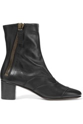 Chloe Paneled Leather Ankle Boots Black