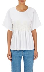 Chloe Women's Flower Appliqued Cotton T Shirt White
