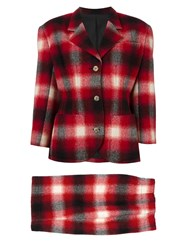 Jean Paul Gaultier Vintage Checked Skirt Suit Red