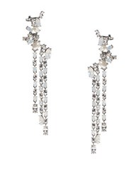 Marchesa Bohemian Dream Swarovski Crystals Crawler Earrings Silver