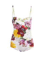 Dolce And Gabbana Ortensie Rose And Hydrangea Print Swimsuit Multi