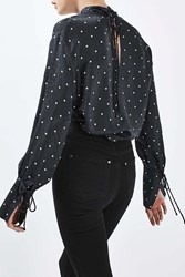 Boutique Polka Funnel Blouse By Navy Blue