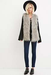 Forever 21 Shaggy Faux Fur Vest Grey