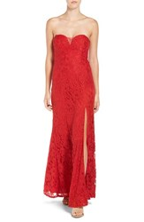 Sequin Hearts Women's Strapless Lace Gown