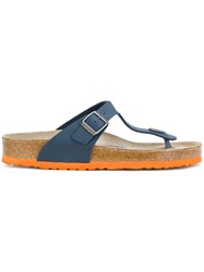 Birkenstock Gizeh Sandals Men Cork Leather Plastic 44 Blue