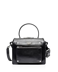 Zadig And Voltaire James Leather Satchel Black Silver