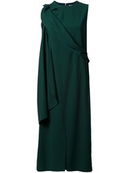 Chalayan Drapey Sleeveless Midi Dress Green