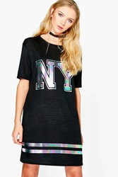 Boohoo Jade Oversized Ny Knitted Tshirt Dress Black