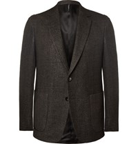 Helbers Brown Slim Fit Wool Linen Silk And Cashmere Blend Blazer Dark Brown