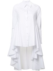 Co Button Up High Low Shirt White