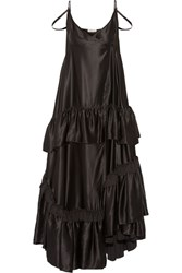 Attico Charlotte Tiered Silk Satin Maxi Dress Black