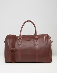 Barney's Barneys Structured Leather Holdall In Oxblood Brown