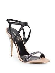 Narciso Rodriguez Carolyn Snake Embossed Leather Sandals Ecru