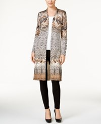 Jm Collection Printed Duster Cardigan Only At Macy's Baked Almond