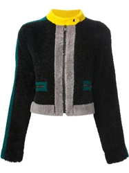 Fendi Contrast Cropped Shearling Jacket Black