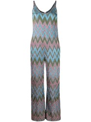 M Missoni Metallic Geometric Print Jumpsuit Blue
