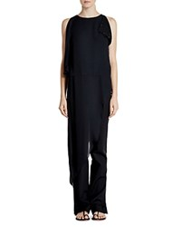 Halston Heritage Asymmetric Silk Tunic Top Black