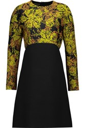 Giambattista Valli Paneled Jacquard And Wool Dress Black