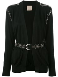 Laneus Studded Belted Cardigan Black