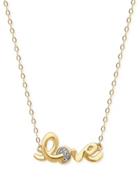 Macy's 14K Gold Necklace Love Crystal Cable Chain Necklace