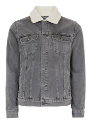 Topman Black Vintage Wash Faux Shearling Collar Jacket