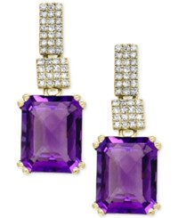Effy Amethyst 5 1 3 Ct. T.W. And Diamond 1 5 Ct. T.W. Drop Earrings In 14K Gold Yellow Gold