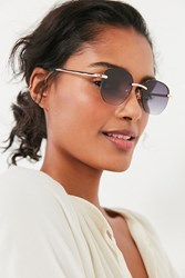 Urban Outfitters Geo Rimless Round Sunglasses Gold