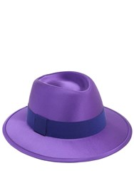 Saint Laurent Chapo Fedora Wool And Silk Satin Hat Parma Violet