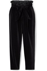 Alice Olivia Farrel Oversized Belted Velvet Pants Black