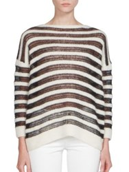 Saint Laurent Long Sleeve Striped Sweater Natural Black