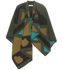Burberry Patchwork Wool And Cashmere Blend Cape Green
