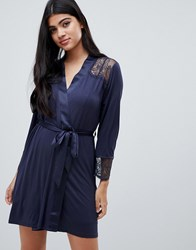Ted Baker B By Signature Lace And Jersey Dressing Gown Black