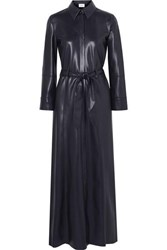 Nanushka Taurus Vegan Leather Maxi Dress Navy