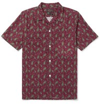 Beams Plus Camp Collar Paisley Print Cotton Shirt Merlot