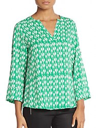 Collective Concepts Geo Print Blouse Green