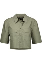 Equipment Signature Cropped Cotton Shirt Army Green