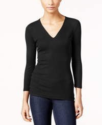 Inc International Concepts Ribbed V Neck Top Only At Macy's Deep Black