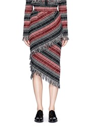 Nicholas Fringe Stripe Wool Blend Tweed Midi Skirt Multi Colour