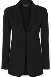 Akris Odette Leather Trimmed Wool Blend Crepe Blazer Black