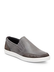 Joe's Jeans Robby Leather And Suede Slip On Sneakers Grey