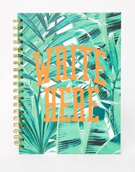 Paperchase Let's Squawk Slogan Wiro Notebook Multi Green