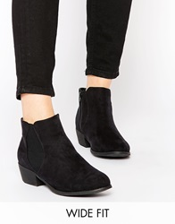 New Look Wide Fit Flat Ankle Boots Black